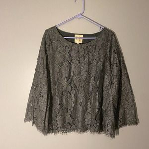 Chaser Gray Lace Cut Out Career Blouse SZ M